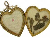 Heart-Shaped Gold Locket with Garnet & Pearl Decorative Features