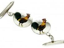 Silver & Enamel Rooster Cufflinks