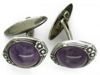 Amethyst & Silver Cufflinks