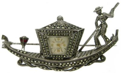 Marcasite & Sterling Silver Gondola Brooch Watch