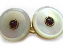 Mother of Pearl & Ruby Button Cufflinks