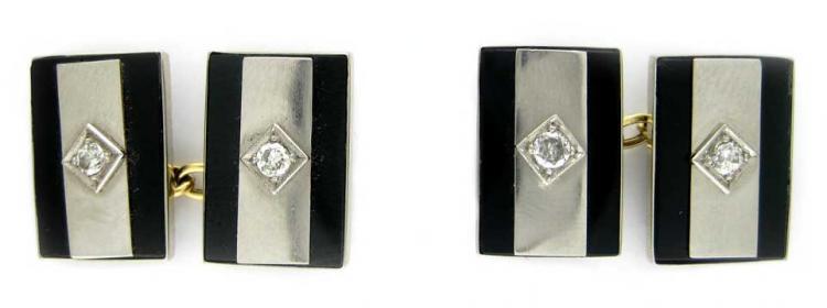 18ct White Gold, Onyx & Diamond Cufflinks