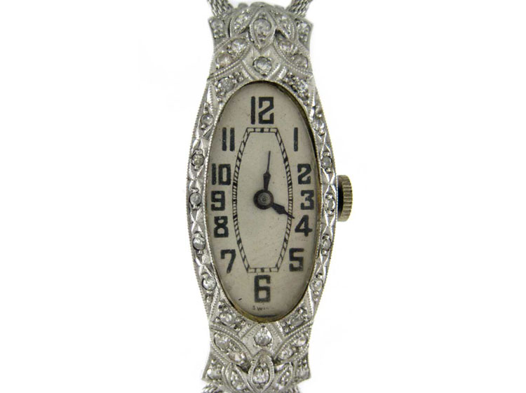 Ornate Art Deco White Gold & Diamond Watch