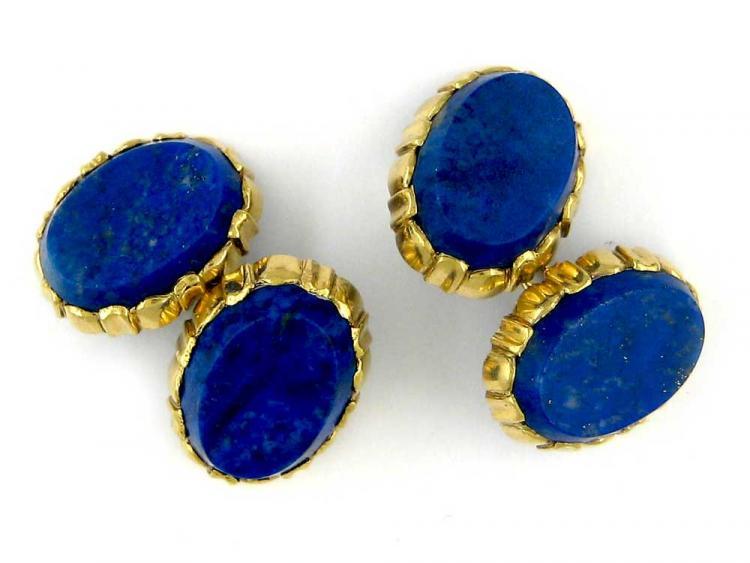 Lapis Lazuli & 18ct Gold Oval Cufflinks