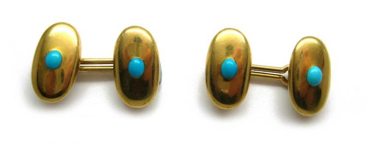 18ct Gold & Turquoise Oval Cufflinks