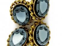 18ct Gold & Banded Sardonyx Shield Cufflinks