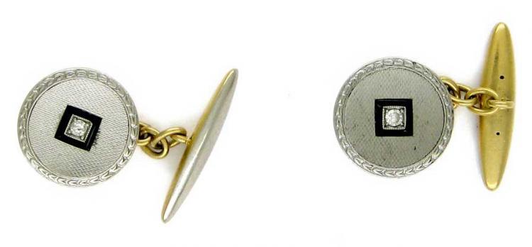 Platinum & Diamond Round Cufflinks