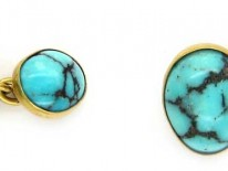 Turquoise Matrix & 18ct Gold Cufflinks