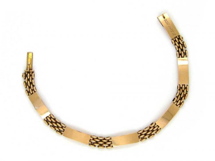15ct Gold Plain & Decorated Sectioned Bracelet