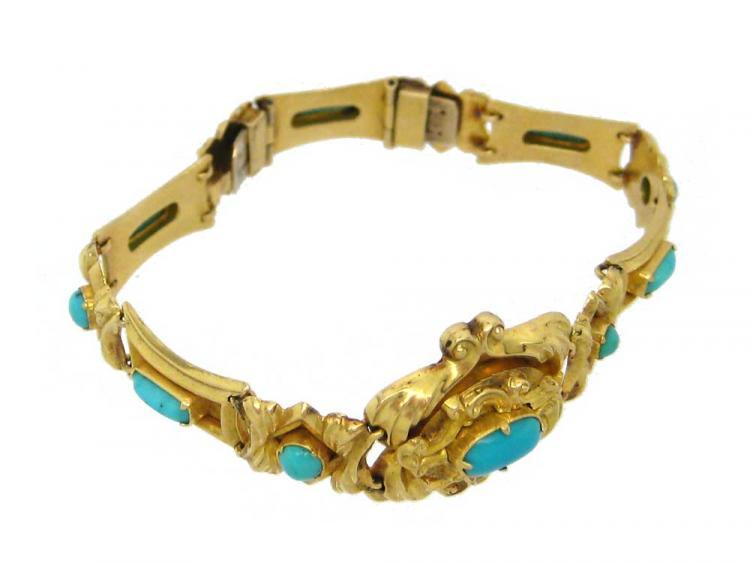 Ornate 18ct Gold & Turquoise Bracelet