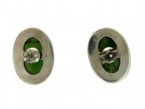 Nephrite Jade & Marcasite Oval Earrings