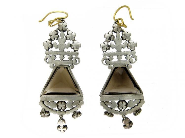 Ornate Smoky Quartz & Marcasite Earrings