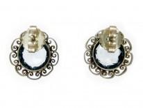 Silver & Blue Glass Earrings