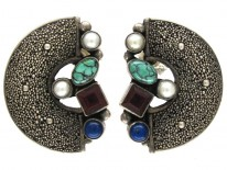 Silver & Mixed Stone German Earrings by Gustave Braendle