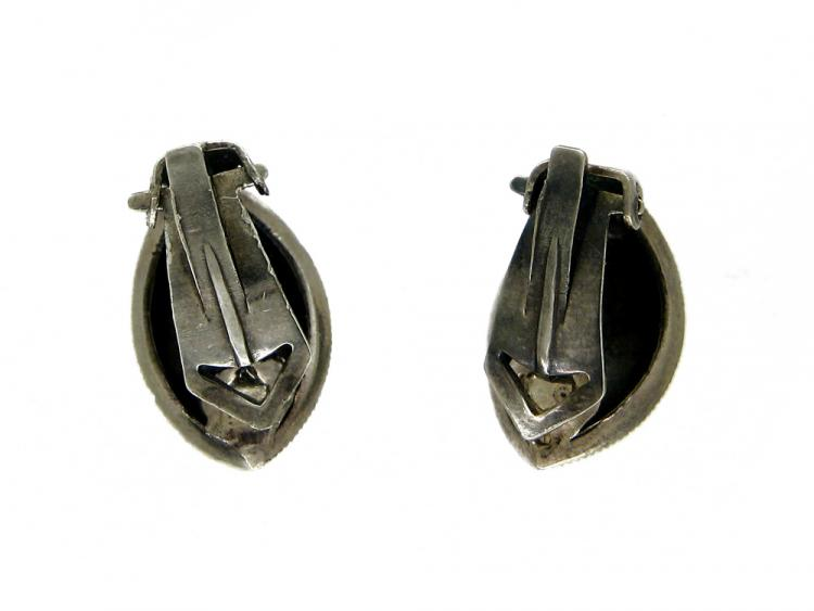 Marcasite & Silver Leaf Shaped Clip-On Earrings