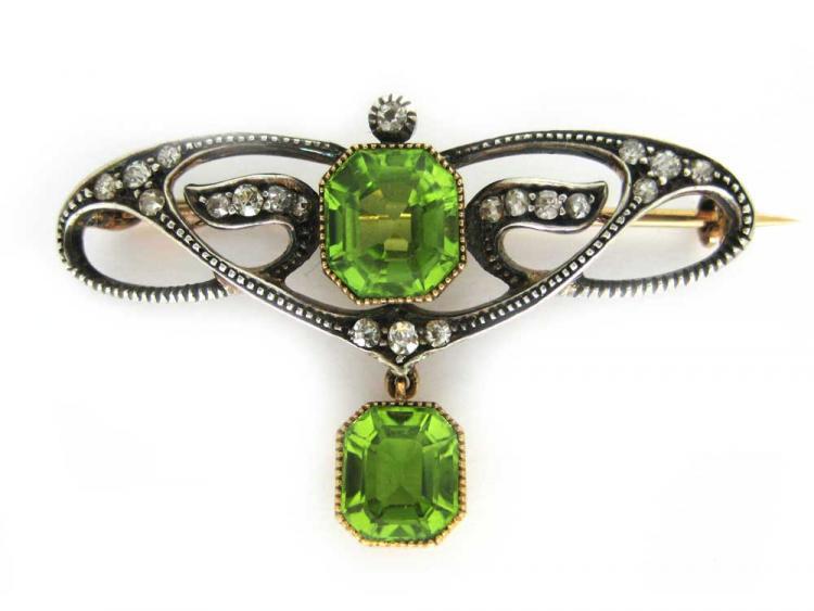 Peridot & Diamond Brooch