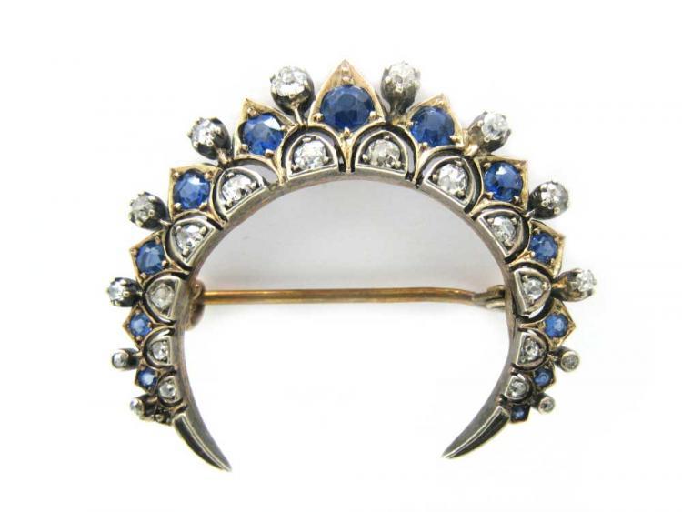 Sapphire & Diamond Crescent Moon Brooch