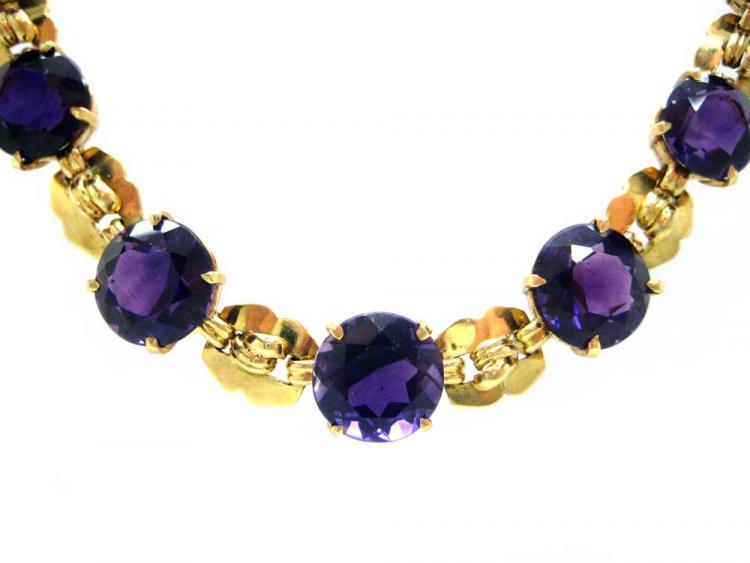 18ct Gold & Amethyst Necklace