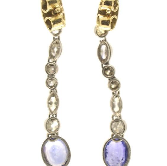 Diamond & Sapphire Drop Earrings