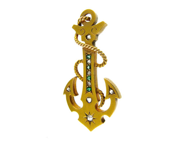 Victorian 15ct Gold Anchor Brooch set with Emeralds & Rose Diamonds