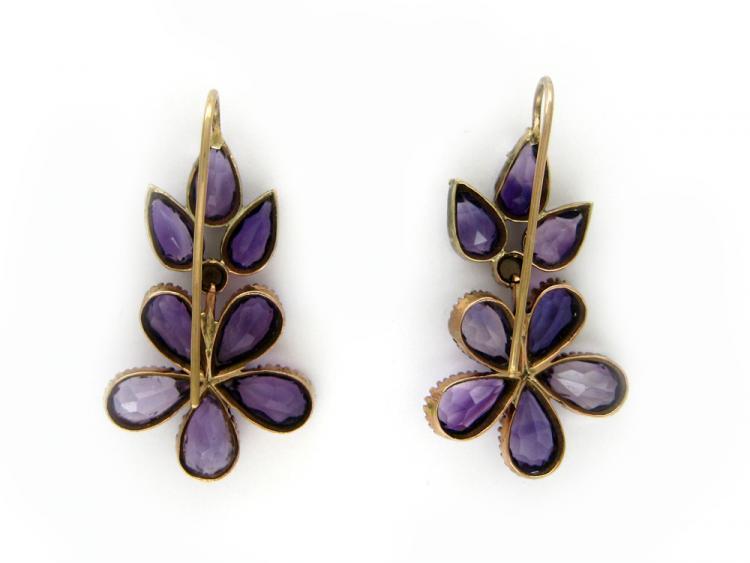 Amethyst & Pearl Flower Earrings
