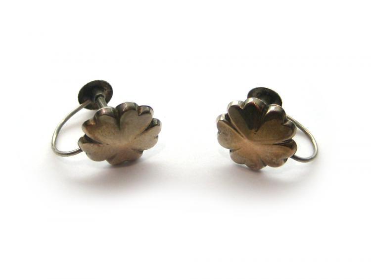 9ct Gold Hear Petal Flower Earrings
