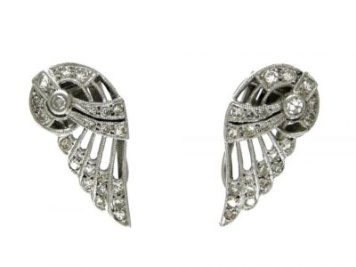 Diamond & Platinum Clip-On Wing Earrings
