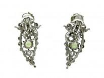 Peridot, Diamond & Platinum Clip-On Earrings