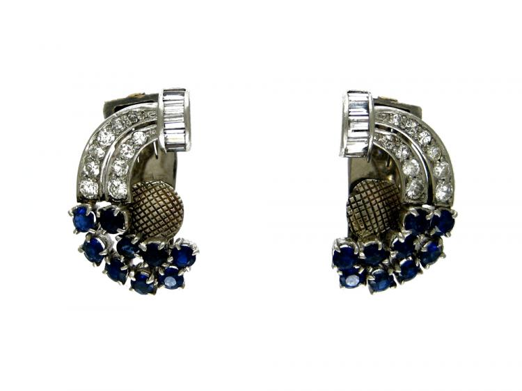 Sapphire, Diamond & White Gold Clip-on Earrings