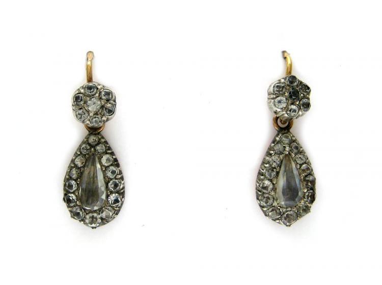 Silver & Paste Drop Earrings