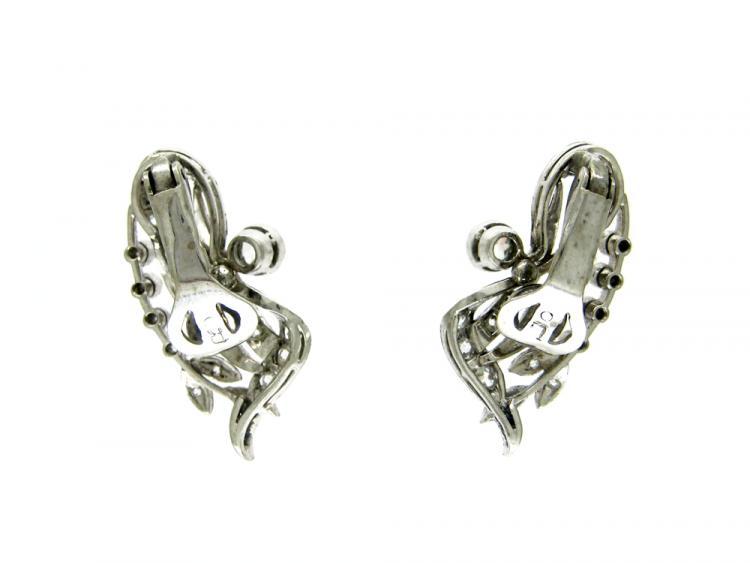 Diamond & Platinum Clip-on Earrings