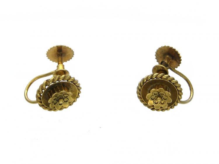 15ct Gold Etruscan Style Flower Earrings