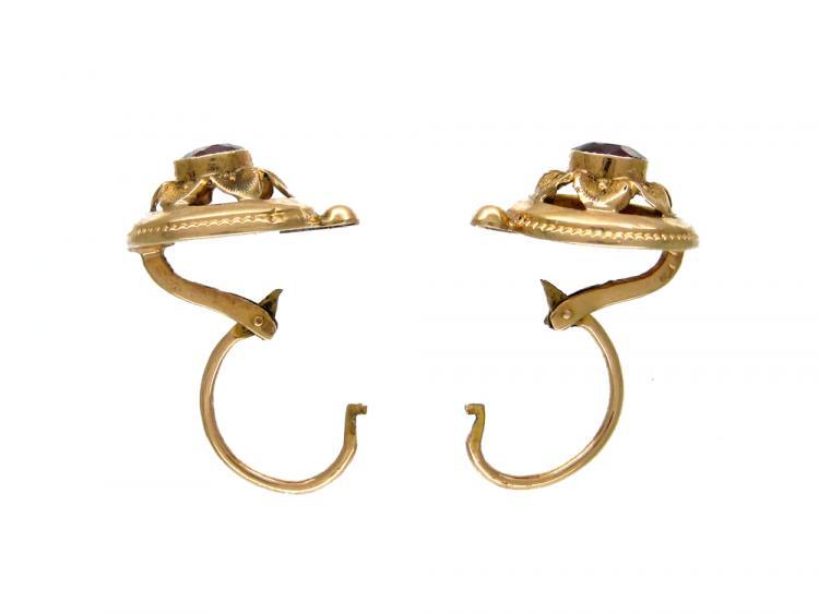 18ct Gold & Almandine Garnet Earrings