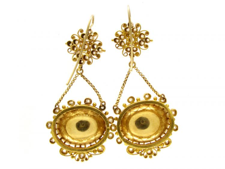 Regency 18ct Gold Diamond & Chrysoprase Drop Earrings