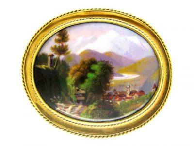 15ct Gold & Swiss Enamel Brooch