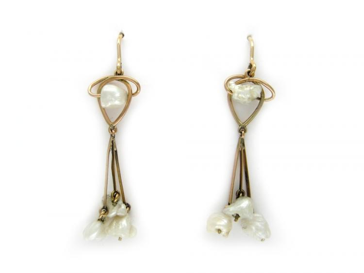 15ct Gold & Natural Baroque Pearl Earrings