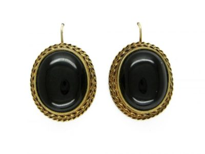 Cabochon Garnet 18ct Gold Earrings