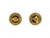 Hessanite Garnet & Pearl Round Earrings