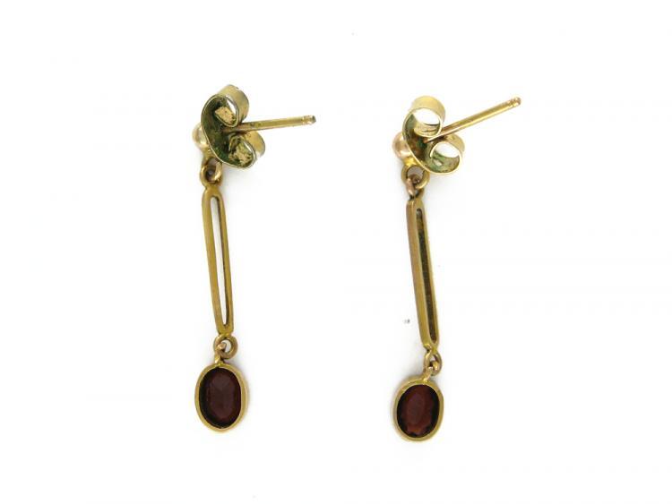 9ct Gold & Garnet Drop Earrings