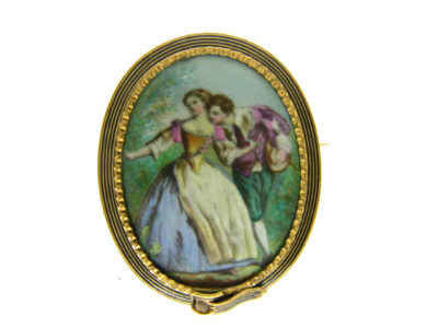 19th Century 18ct Gold French & Enamel Courtship Brooch With Garter Surround