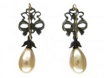 Ornate Silver & Glass Pearl Drop Earrings