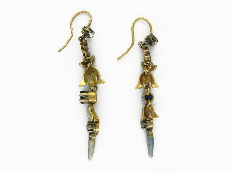 Art Nouveau Sapphire, Diamond & Enamel Long Earrings