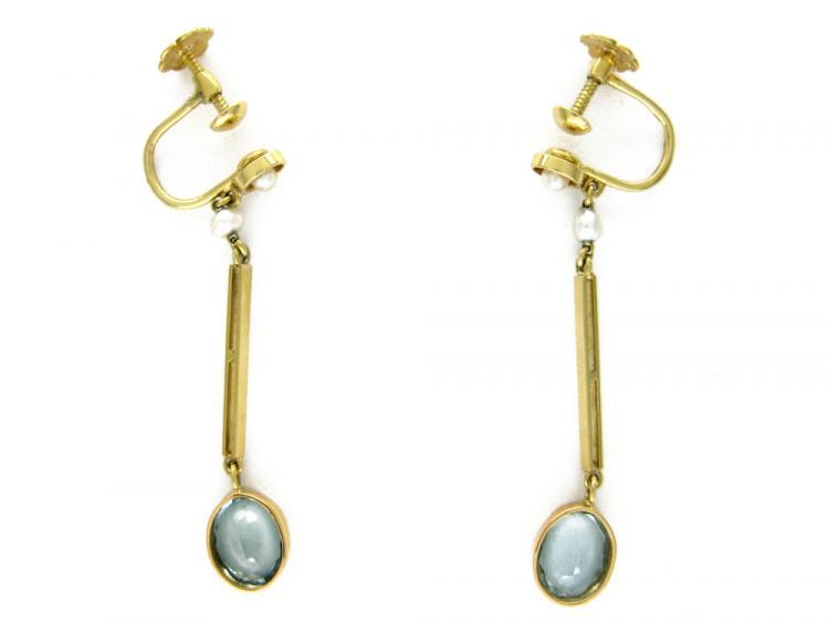 15ct Gold, Aquamarine & Pearl Earrings