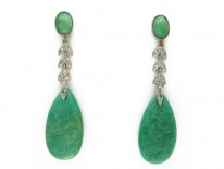 Amazonite & Diamond Drop Earrings