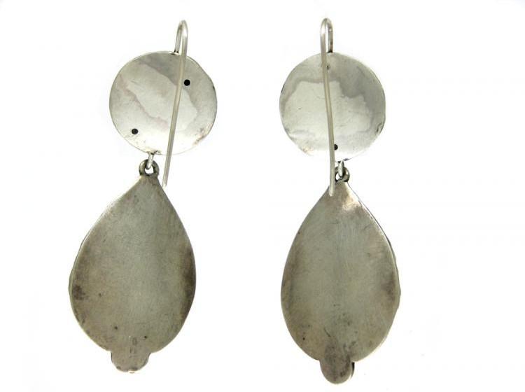 Large Silver Flower & Drop Earrings
