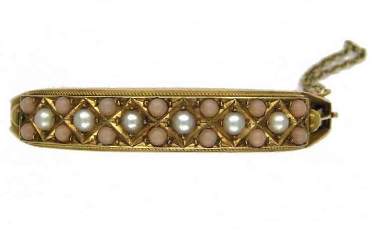 15ct Gold, Pearl & Coral Bangle