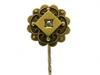 15ct Gold & Diamond Etruscan Style Tie Pin
