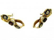 15ct Gold, Garnet & Enamel Bow Earrings