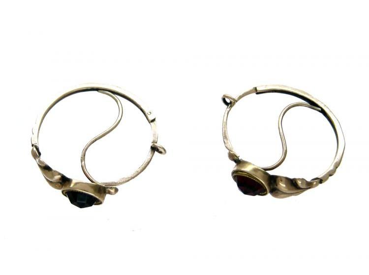 9ct Gold & Garnet Spanish Earrings