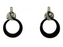 Onyx & Diamond Drop Hoop Earrings